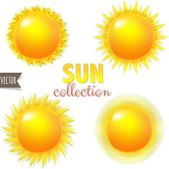 グラデーションメッシュイラストで明るい大きな太陽のセット