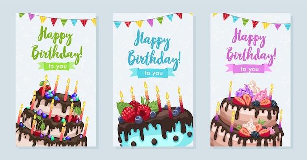 明るいバースデーケーキのイラスト。縦長の誕生日おめでとうグリーティングカード。