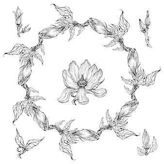Bright black and white floral floral frame with magnolia flowers.