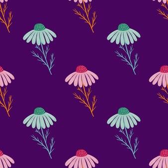 밝은 파란색과 분홍색 카모마일 꽃 원활한 패턴