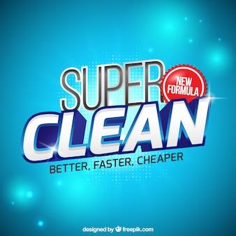 Bright blue background of detergent