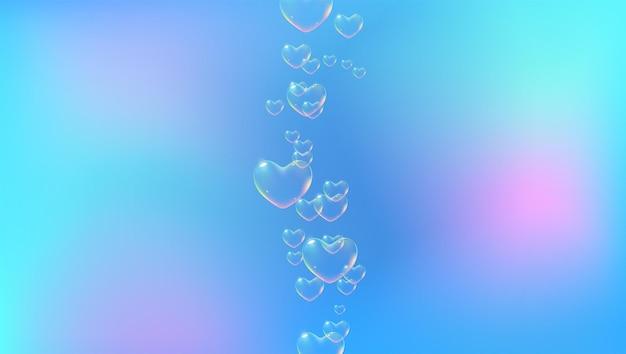 バレンタインカードベクトルの虹色のハート型のシャボン玉と明るい青の背景