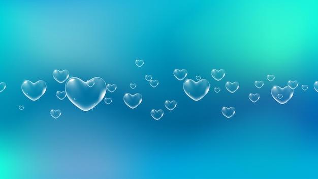 バレンタインカードベクトルの白い色のハート型のシャボン玉と明るい青の背景