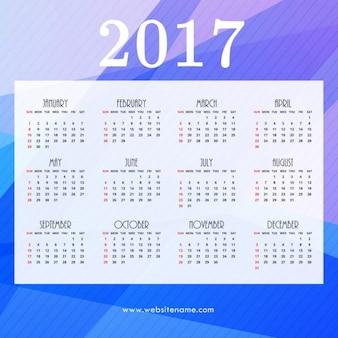 2017 design del calendario con blu forme astratte