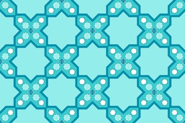 明るい青のモダンなモロッコの幾何学的な最小限のシームレスなパターンの装飾。背景、カーペット、壁紙の背景、衣類、ラッピング、バティック、ファブリック、床タイルのデザイン。刺繡スタイル。ベクター。