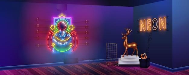 네온 불빛이있는 밝은 파란색 네온 룸. 화려한 벽과 복고풍 80 년대 배경. 다락방 내부 배너에 게이머 소년 방.