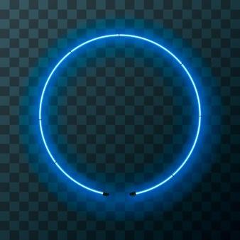 透明な背景に明るいブルーのネオンラウンドフレーム