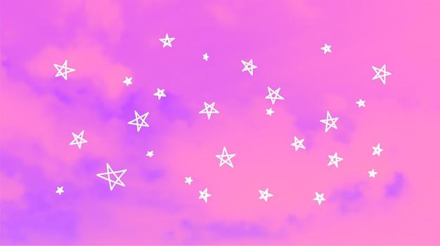 밝은 푸른 하늘 배경. 손으로 그린 요소와 현실적인 벡터 구름