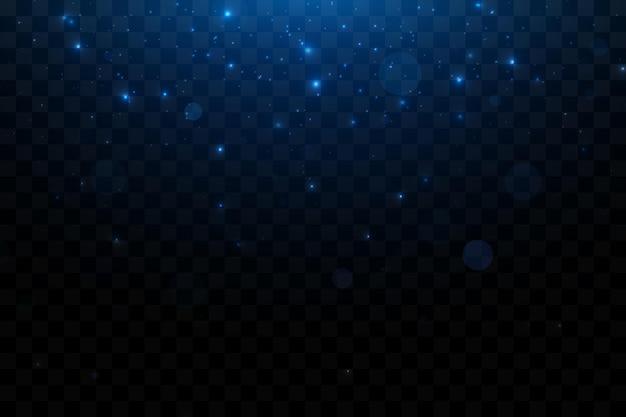 Bright blue sparkling particles background decoration blue dust light effect