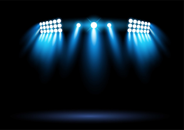 Bright blue stadium arena lighting spotlight graphic element