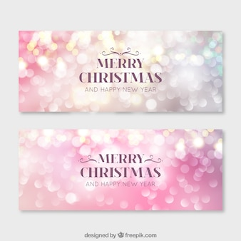 Bright bokeh banners for merry christmas and new year