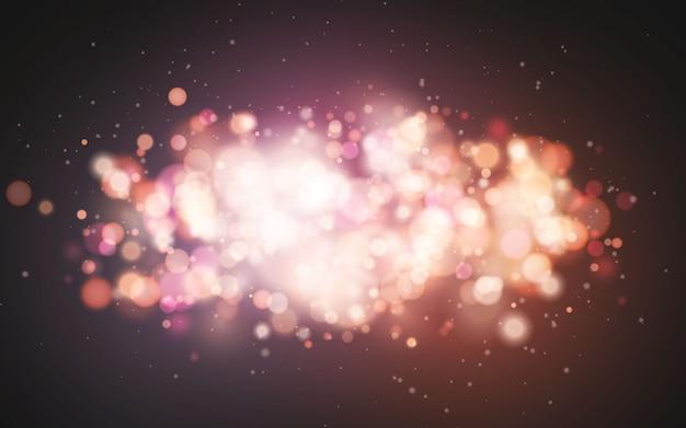 明るいボケ効果。お祝いの魔法の明るい背景。クリスマスの休日のデザイン。