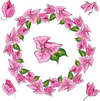 明るいブーゲンビリアの花輪