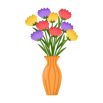 花瓶のアスターの明るい花束、ベクトル図