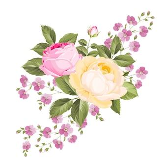 咲くバラの明るい花束