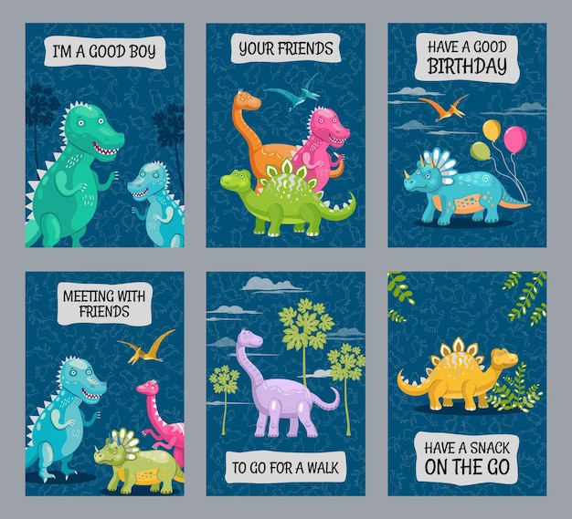 Bright brochure designs with cute dinos