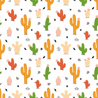 Bright cactus on white background. seamless pattern for sewing children's clothing and printing on fabric. vector illustration in doodle style.