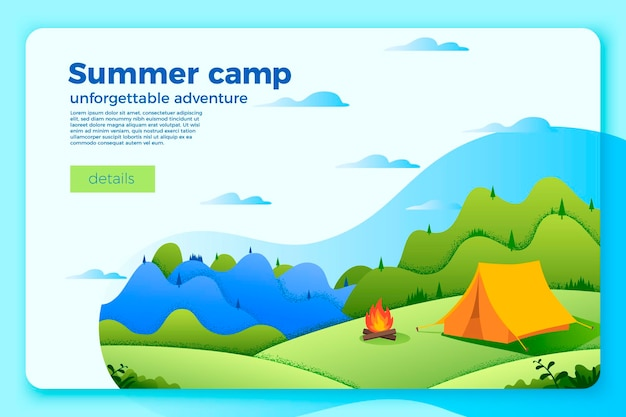 Bright camping banner template with bonfire near the tent