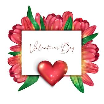 バレンタインデーのための繊細なチューリップの明るいカード