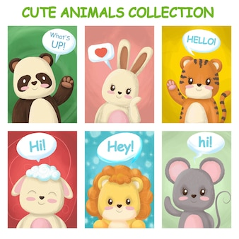 Bright cards with cute animals