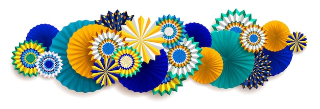 Bright carnaval background with paper fans