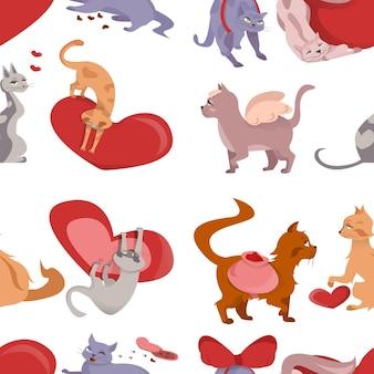Яркий мультяшный фон с кошками и сердечками на белом фоне