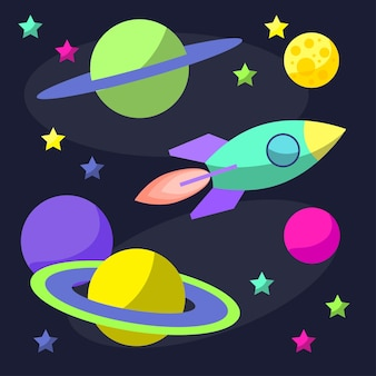 카드, 포스터, 배너, 현수막, 브로셔 또는 빌보드 표지 디자인에 사용하기 위해 열린 공간에 로켓과 재미있는 행성이 있는 밝은 만화 우주 삽화