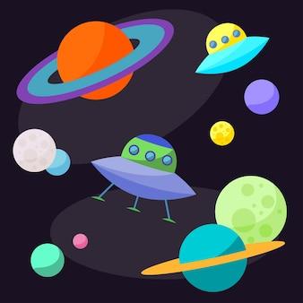 카드, 포스터, 배너, 현수막, 브로셔 또는 빌보드 표지 디자인에 사용하기 위해 열린 공간에 ufo와 재미있는 행성이 있는 밝은 만화 우주 삽화