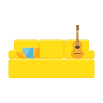 Bright cartoon couch patern background for design baby nursery poster.