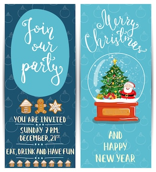 Bright cartoon invitation on christmas fun party