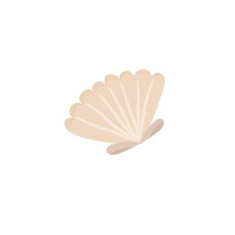 Яркий мультяшный значок ракушки. красочный символ моллюсков, изолированные на белом фоне. векторная иллюстрация.