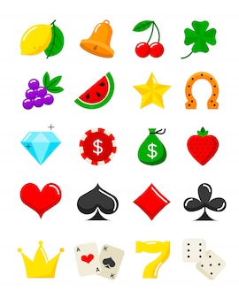 Bright casino flat icons set