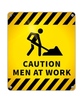 Bright caution glossy metal plate, warning sign men at work area with road worker icon isolated on white