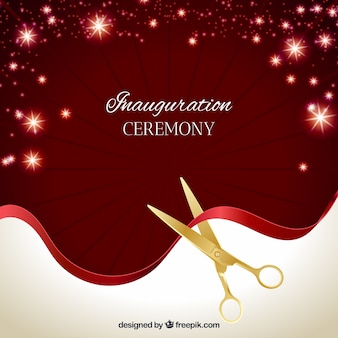 Bright ceremony background with golden scissors