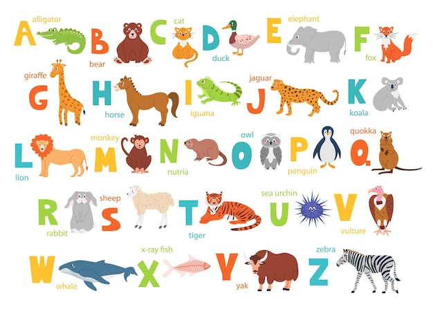 Bright childrens alphabet with cute animals for education and a manual font