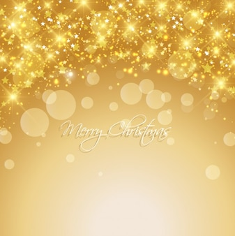 Bright christmas background in gold color