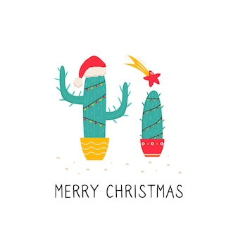 Bright christmas illustration with cactus isolated on white background
