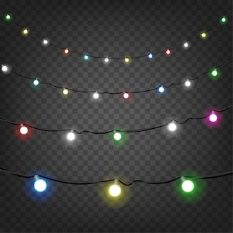 Bright christmas lights vector clipart isolated on transparent