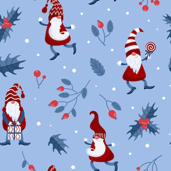 Bright christmas pattern gnomes in caps candy canes gifts winter rose hips holly