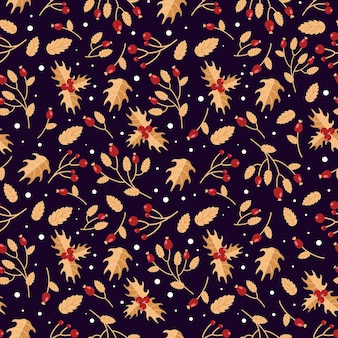 Bright christmas pattern winter berries rosehip holly in red and purple festive colors