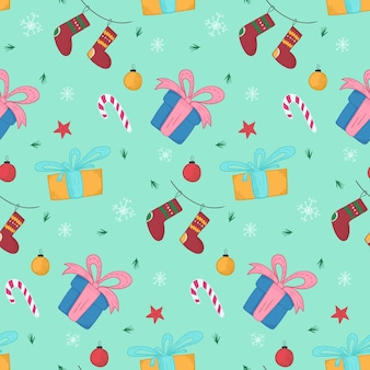 Bright christmas pattern with gifts and stockings