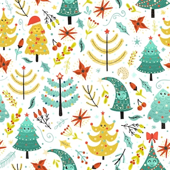 Bright christmas seamless patterns with cute trees.
