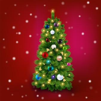 Bright christmas tree with balls on a red vector