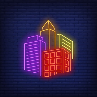 Bright city buildings neon sign.
