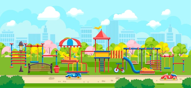 Bright city park with playground for kids