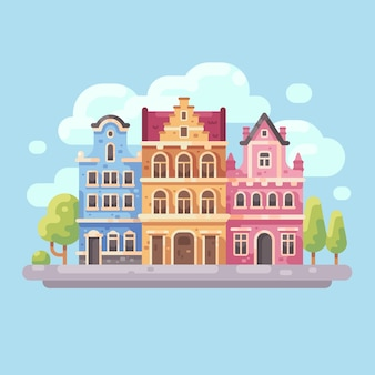 Bright city street flat illustration. european city background.