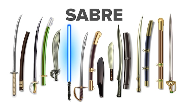 Bright collection of ancient sabers set
