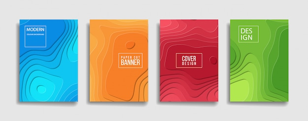 Bright color paper cut background cover