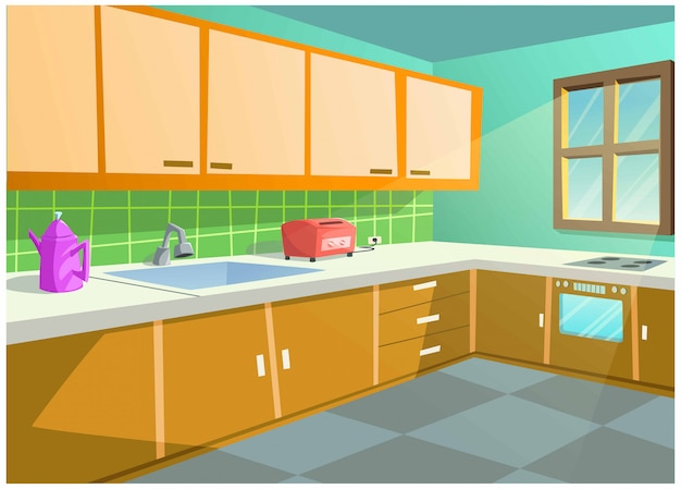 Bright color vector image of the kitchen in the house.