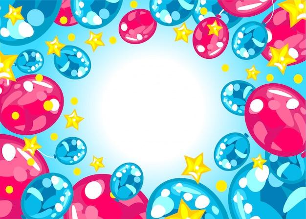Яркий цветной фон из воздушных шаров с днем рождения